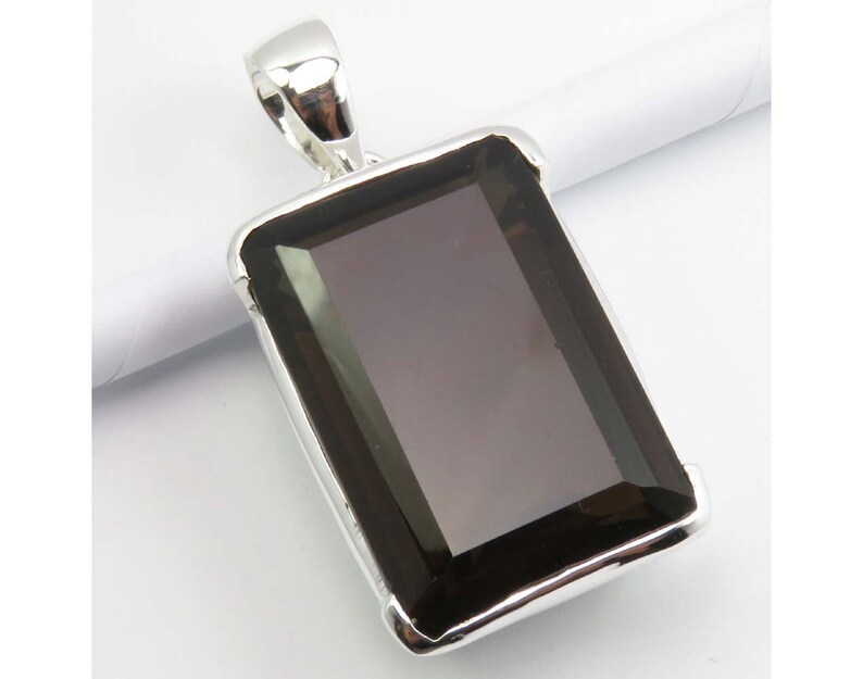 Birthstone Smoky Quartz Heavy Pendant 1.8 925 Solid Sterling Silver Girls/' Jewelry Collection Gift For Mother Combined Shipping Jewellery