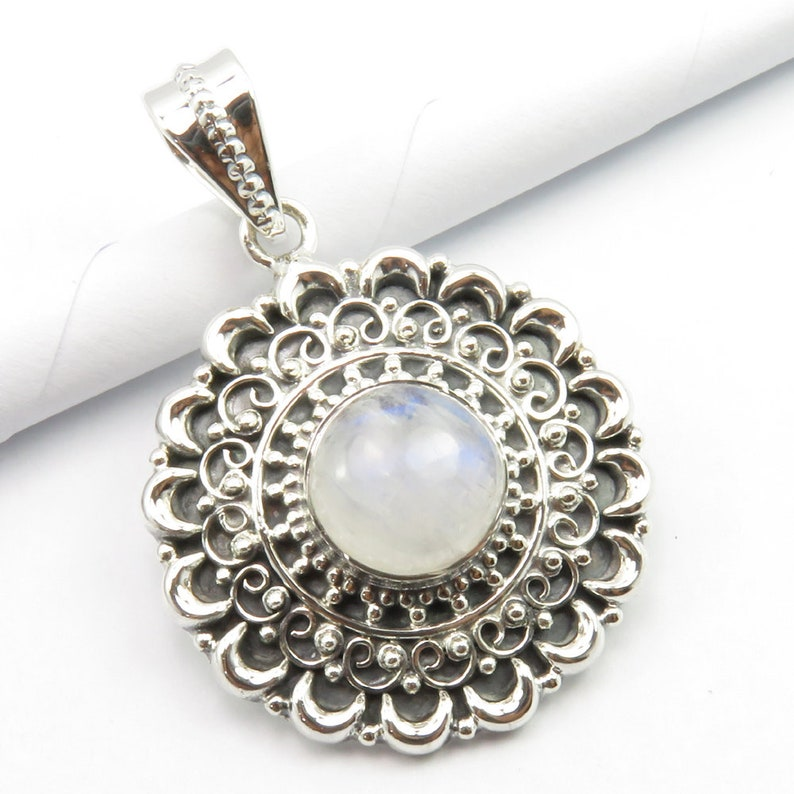 Natural RAINBOW MOONSTONE Exclusive Pendant Sets 925 Solid Sterling Silver Bijoux AAA Quality Real Stone Decorative Jewellery Eye-Catching