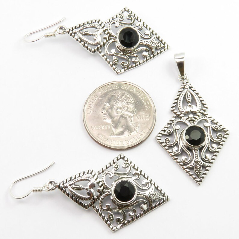 Beautiful BLACK ONYX Pendant Set 1.8 Brand New Girls/' Jewelry 925 Pure Sterling Silver Unique Jewellery Handmade Exclusive Rare Collection