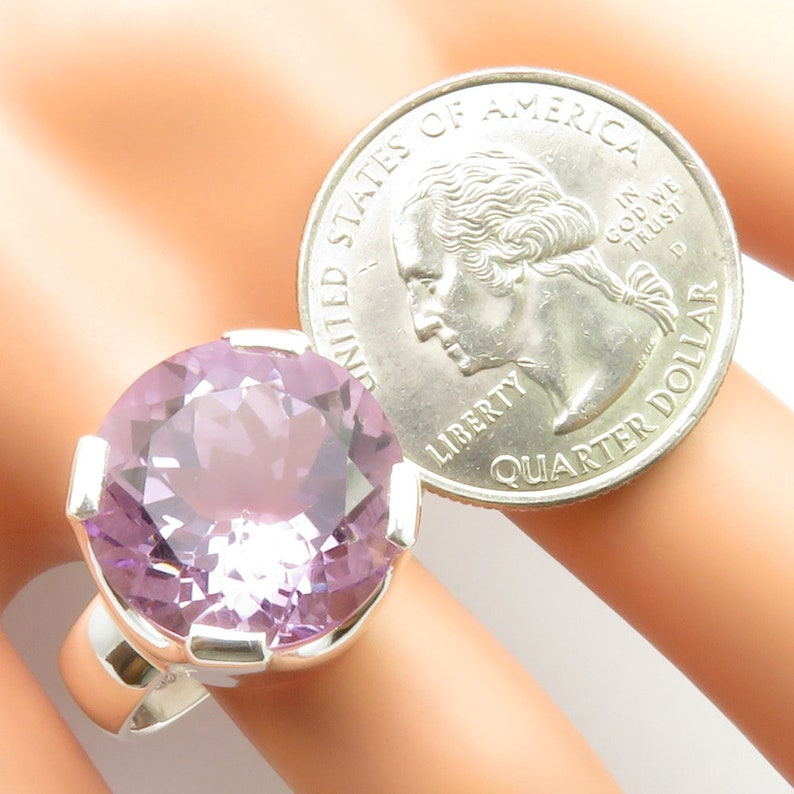 Real Stone Purple AMETHYST Heavy Ring Sz 10.5 Free Gift Box 925 Sterling Silver Pretty Rare Jewellery AAA Grade Exclusive Gem Jewelry