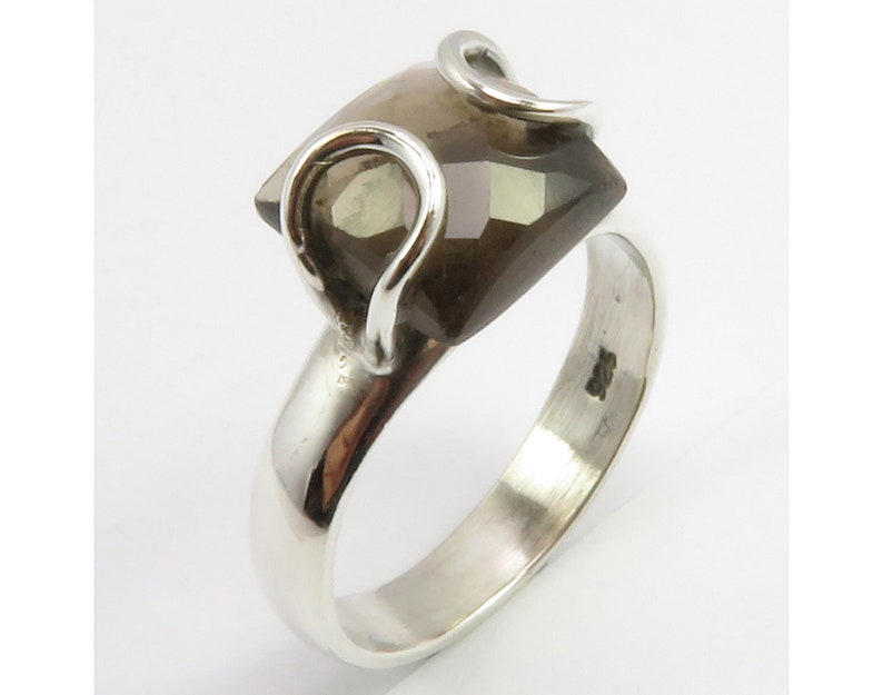 Wholesale Price Modern Brown SMOKY QUARTZ Ring Sz 6.25 Proposal Bijoux Made In India 925 Silver Nouveau Jewellery Sterling Jewelry