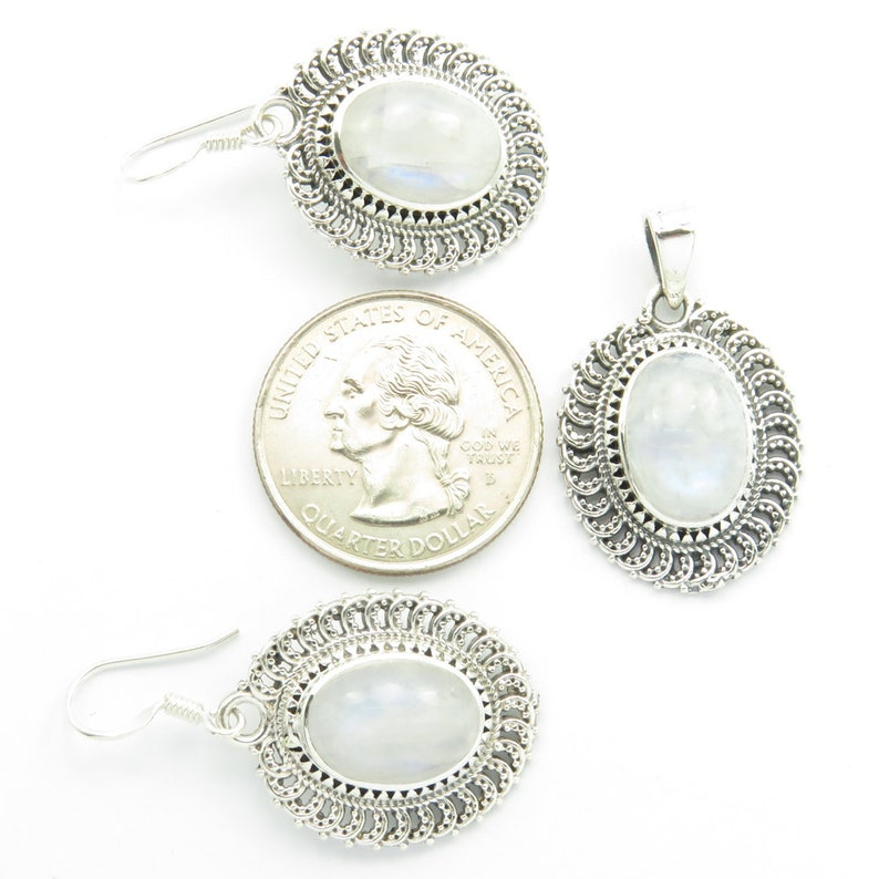 Wedding Gift RAINBOW MOONSTONE Gorgeous Pendant Set Traditional 925 Pure Sterling Silver Handwork Jewellery Exclusive Rare Stylish Bijoux