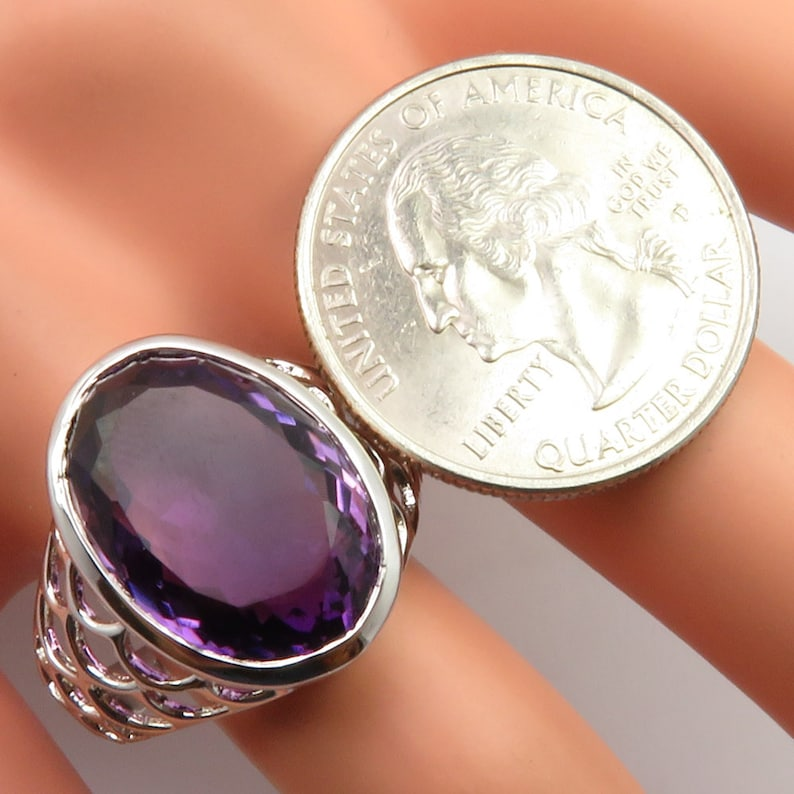 925 Sterling Silver Exclusive Jewellery AAA Grade Traditional Jewelry Free Gift Box Real Gemstone Purple AMETHYST Heavy Ring Sz 10.5