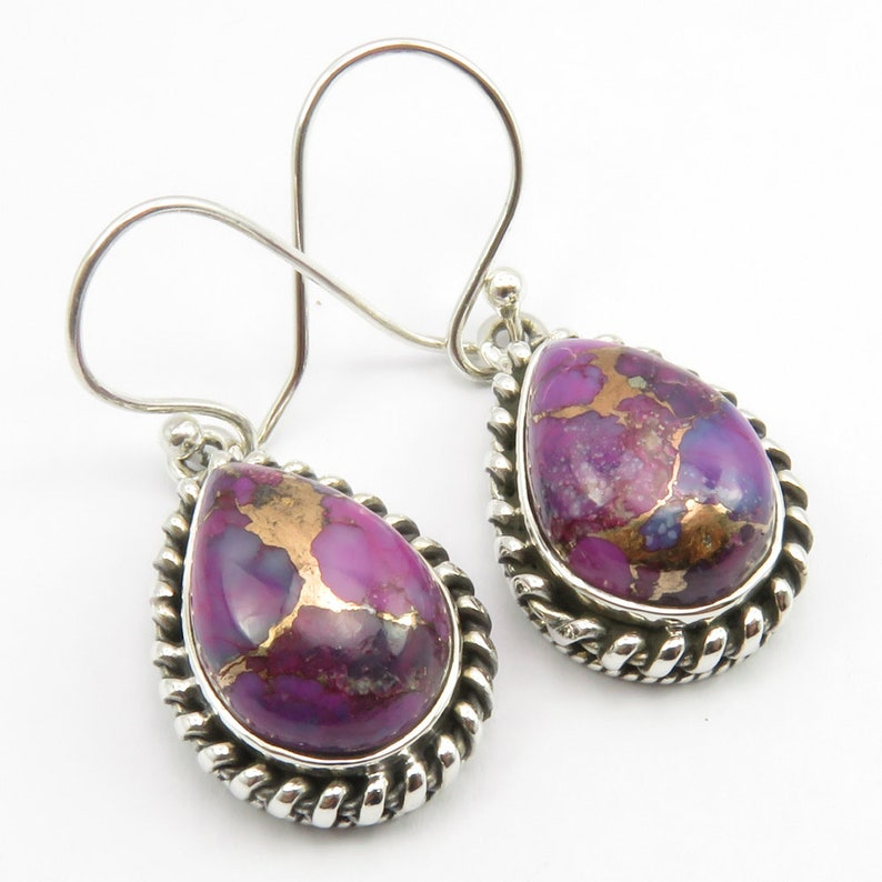 925 Silver Mohave PURPLE COPPER TURQUOISE Ring Size 6.75 Pendant Earrings Set Inexpensive Women/'s Jewellery Expensive-Looking Gift For Wife