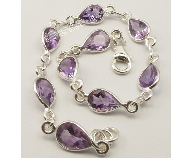 Trendy 925 Pure Solid Sterling Silver Drop Shape Purple Color Real AMETHYST Bracelet 8.3 BIRTHDAY PRESENT Gift For Mother Handmade Jewelry
