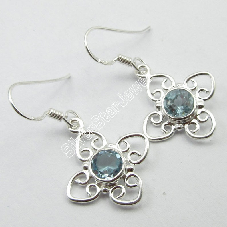 Genuine BLUE TOPAZ Gemstone Earrings Pair 925 Pure Silver FACTORY Price 1.3 3 Grams Traditional Affordable Wedding Jewelry Collection New