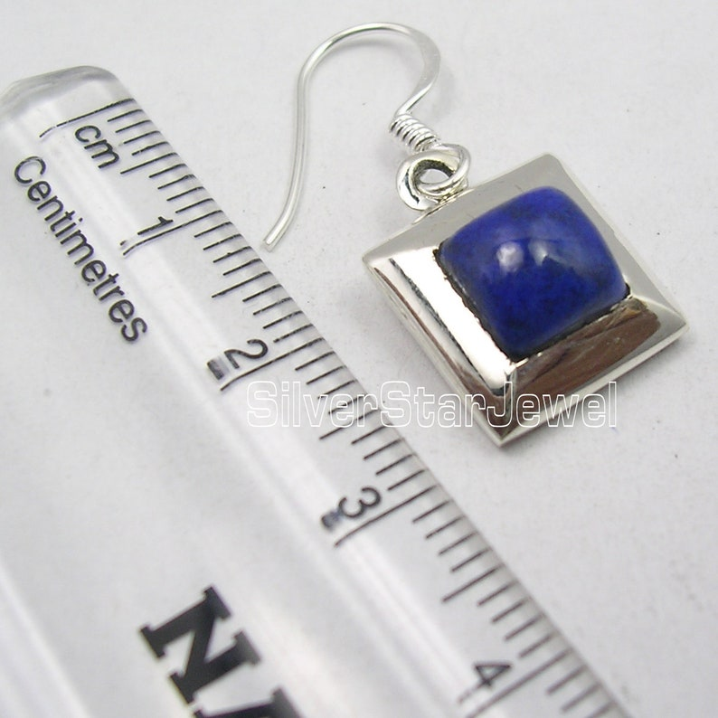 Flawless Fit Real Stone Pendant Earrings Matching Set 925 Stamp Silver Square Shape Blue Lapis Lazuli Style On Focus Decorative Accessories