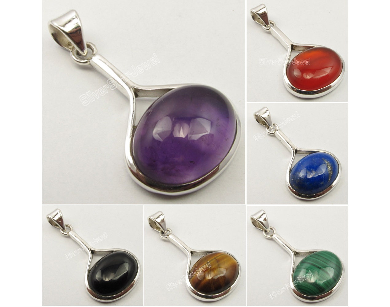 925 Silver Plated MULTISTONE /& Other Stones Choices HIGH POLISHED Pendant