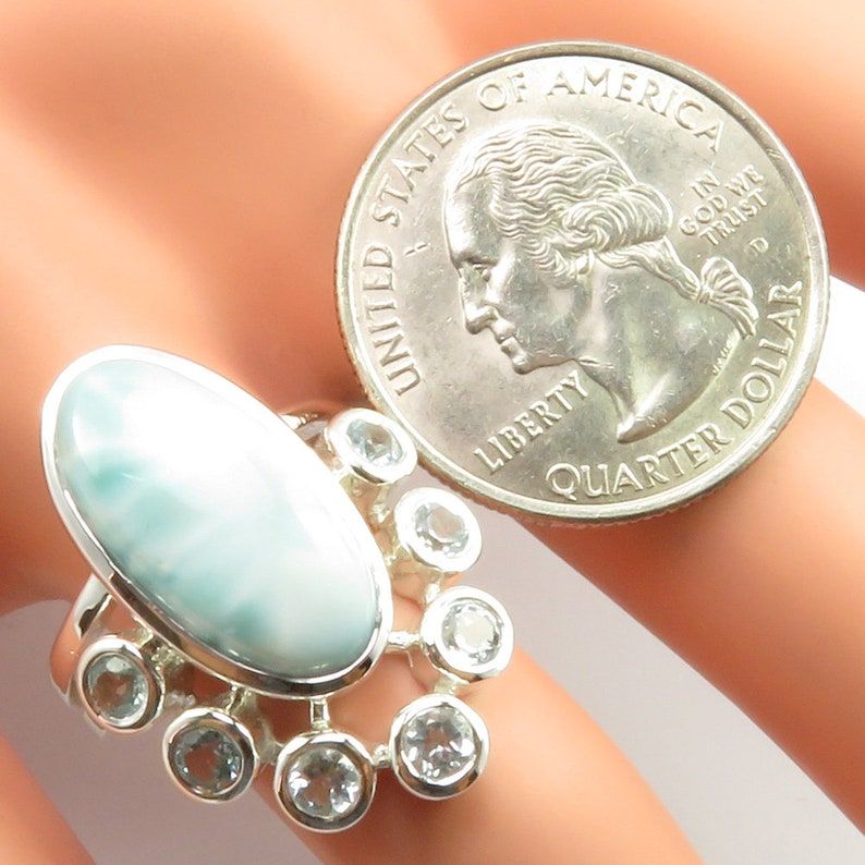 925 Solid Silver AAA Grade Authentic LARIMAR Gemstone Top-Notch Ring Size 7 Classic Jewellery Affordable Wedding Collection Gift For Wife
