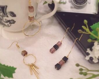 geometric earrings mix and match threader gold tassels earrings O/'FANTASTIClab statement earrings gold Asymmetrial dangle earrings