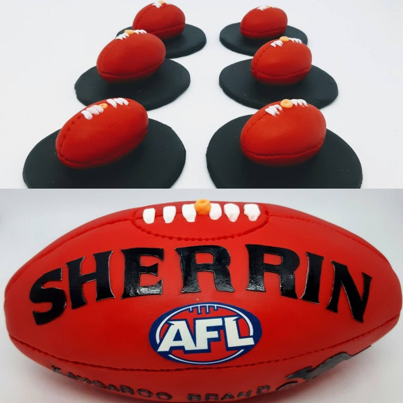 Sherrin AFL ball fondant edible cake topper