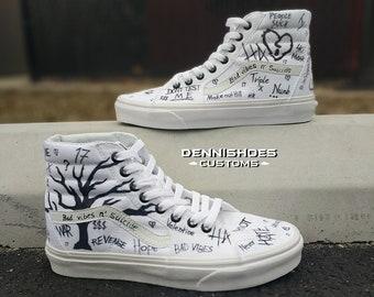 be8a1149119d Custom Hand Painted White XXXTENTACION SK8-Hi Vans