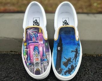 3513e7ed3c75 Custom Hand Painted Tinkerbell Peter Pan Disney Canvas Slip Ons Vans