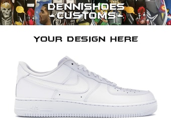 c43a2f58b5 Custom Hand Painted Made To Order White Black Nike Air Force 1  07 Low (Men  Women)