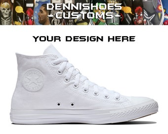 dd0387a5e36c Custom Made To Order White High Top Chuck Taylor All Star Classic Converse  (Men Women)