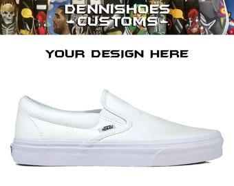 af0c180020ade0 Custom True White Classic Slip-On Vans (Boys Men Women)