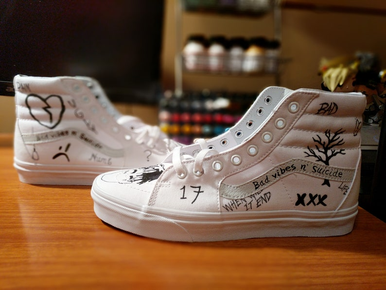 1914a87af8abb Custom Hand Painted White XXXTENTACION SK8-Hi Vans, Adidas, Converse, Nike,  Jordan Yeezy Canvas Leather Platform Shoes
