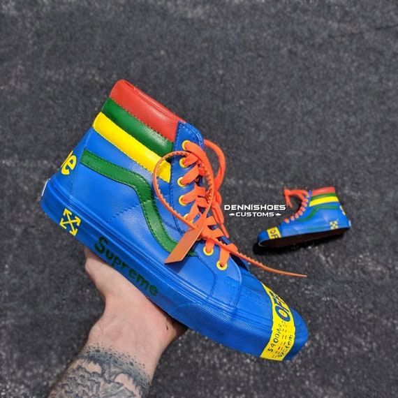 Custom Hand Painted Made To Order LV Supreme Gucci Off,White Vans SK8,Hi  Skate Shoes