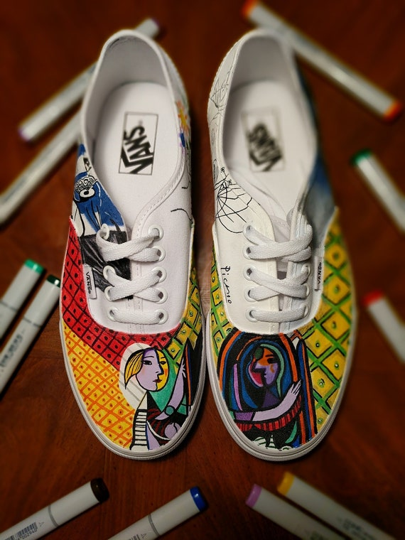 Custom Hand Painted Picasso Low Top Authentic Vans, Convserse, Adidas, Nike, Jordan, Yeezy Canvas Leather Shoes