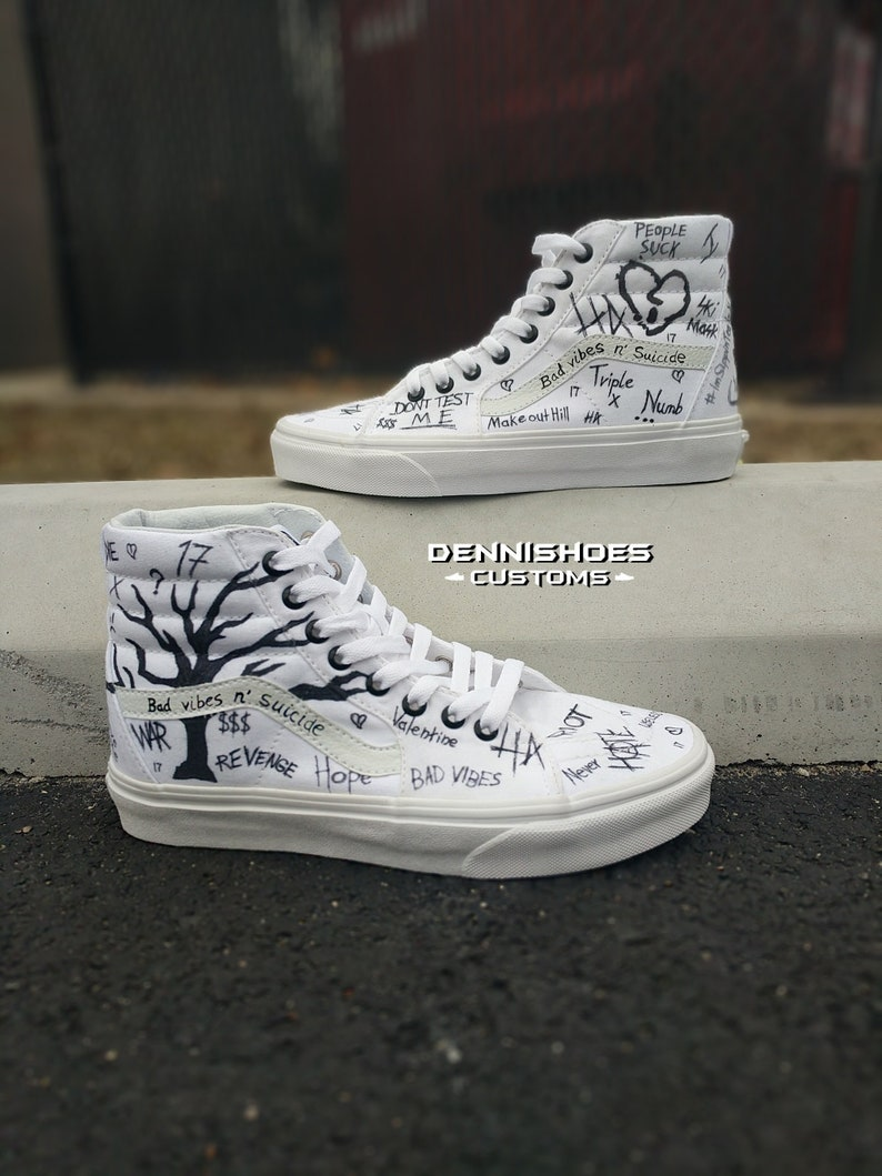 Custom Hand Painted White XXXTENTACION SK8-Hi Vans, Adidas, Converse, Nike,  Jordan Yeezy Canvas Leather Platform Shoes