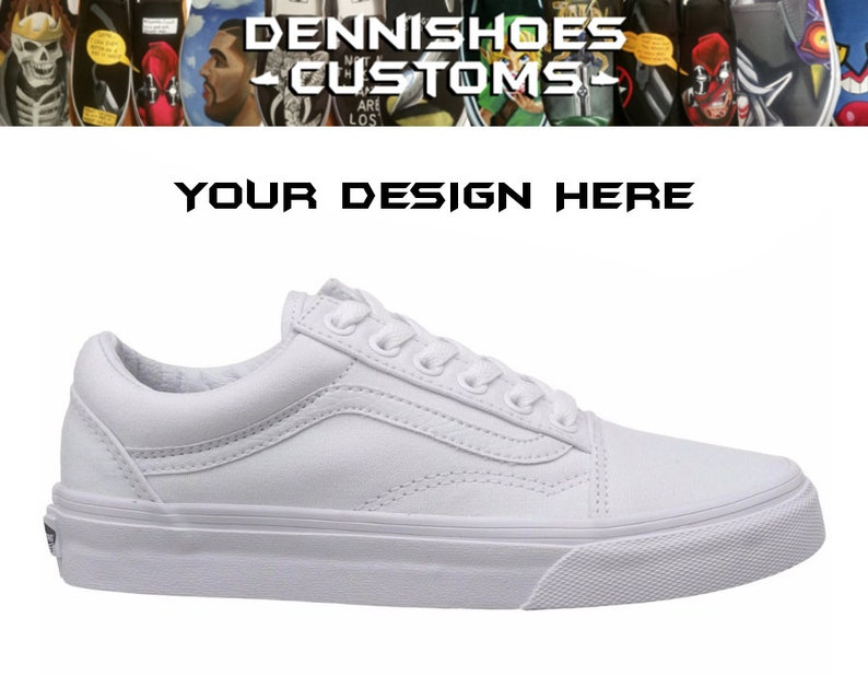 8f70ab29c19b Custom Made To Order True White Canvas Old Skool Vans