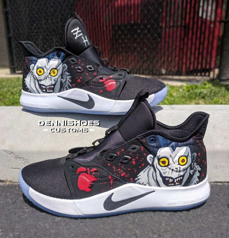cf85c918aad46 Custom Hand Painted Made To Order Death Anime Inspired Nike PG 3s  Basketball Athletic   Vans, Adidas, Converse, Jordan, Toms, Yeezy Shoes