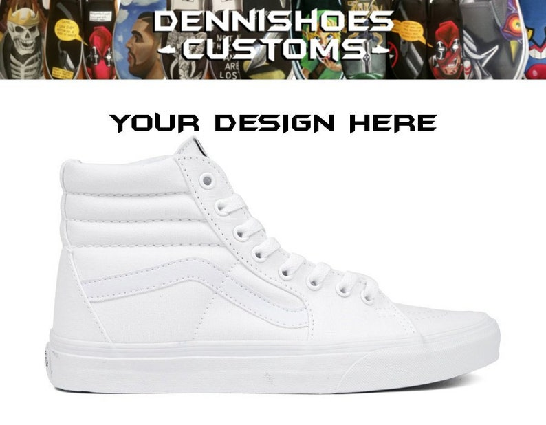 20fa684568 Custom Made To Order True White Canvas SK8-Hi Vans