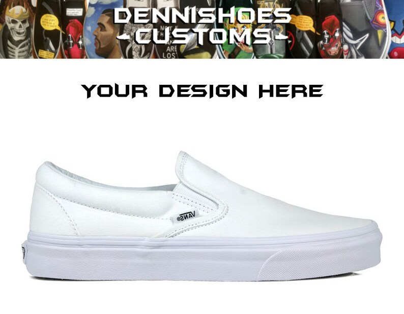 1ca9985a8f Custom Made To Order True White Classic Slip-On Vans