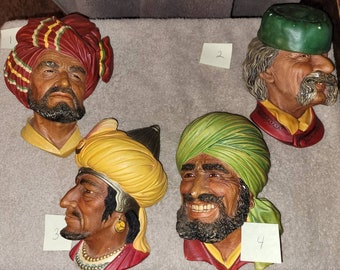 Arabian Wall Art Chalkware Wall Figurine Theater Room Decor Gift For Him Bossons Wall Art Himalayan BOSSONS Head Boys Room Decor