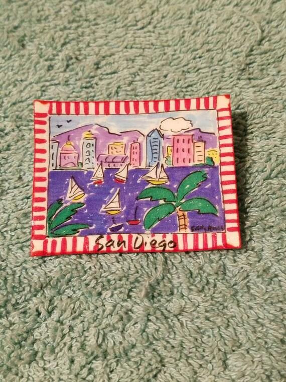 Sally Huss signed Miniature San Diego painting bro