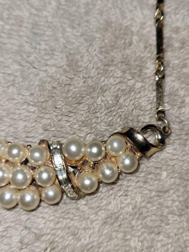 Vintage Coro Katz Faux Pearl Rhinestone necklace