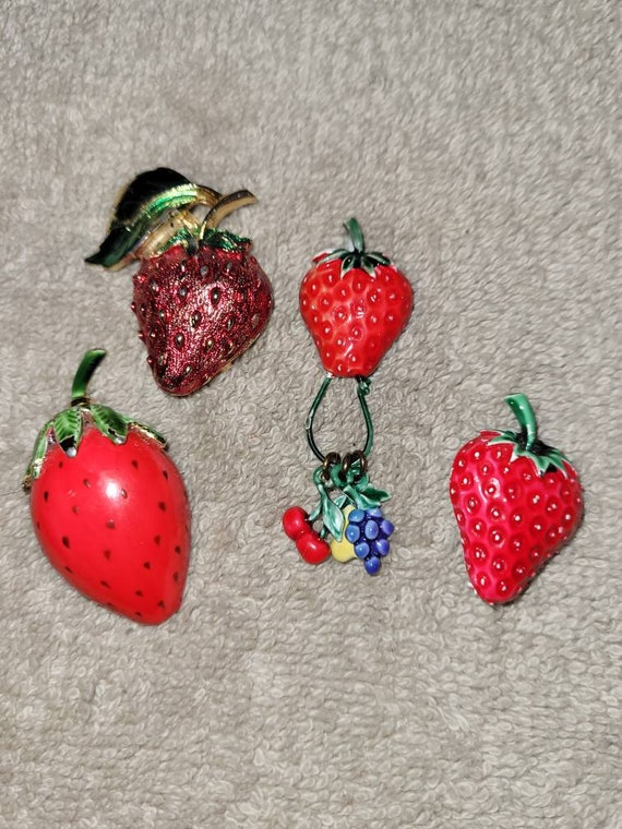 Vintage enamel painted strawberry brooch, 3 strawb