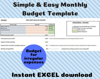 Simple Fortnightly Budget Template Excel Instant Download Etsy
