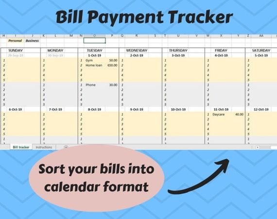 Digital Bill Payment Schedule Tracker Calendar Excel Etsy
