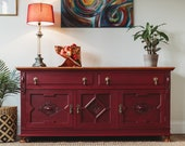 NOW SOLD Antique solid oak sideboard cupboard cabinet handpainted media tv unit