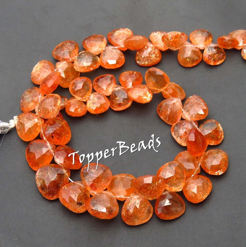 Red Sunstone Heart shape briolette beads 8 Inch BH#875 Faceted Rainbow lattice Sunstone beads Toppest* Natural Sparkle Sunstone Beads