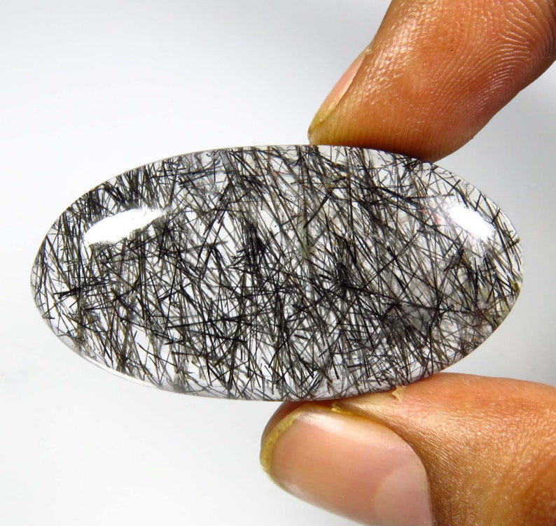 Black Needle Rutile Quartz cabochon Natural Black Rutilated Quartz Oval Shape 41x21 mm Toppest* Natural Rutile Quartz Gemstone BH#1010