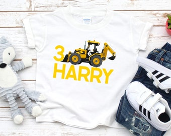 Funny Funny Digger Personalised Baby Name Sleepsuit Romper Suit Grow Excavator