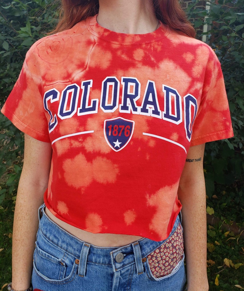 Cropped /& Bleach Dyed Colorado Tee