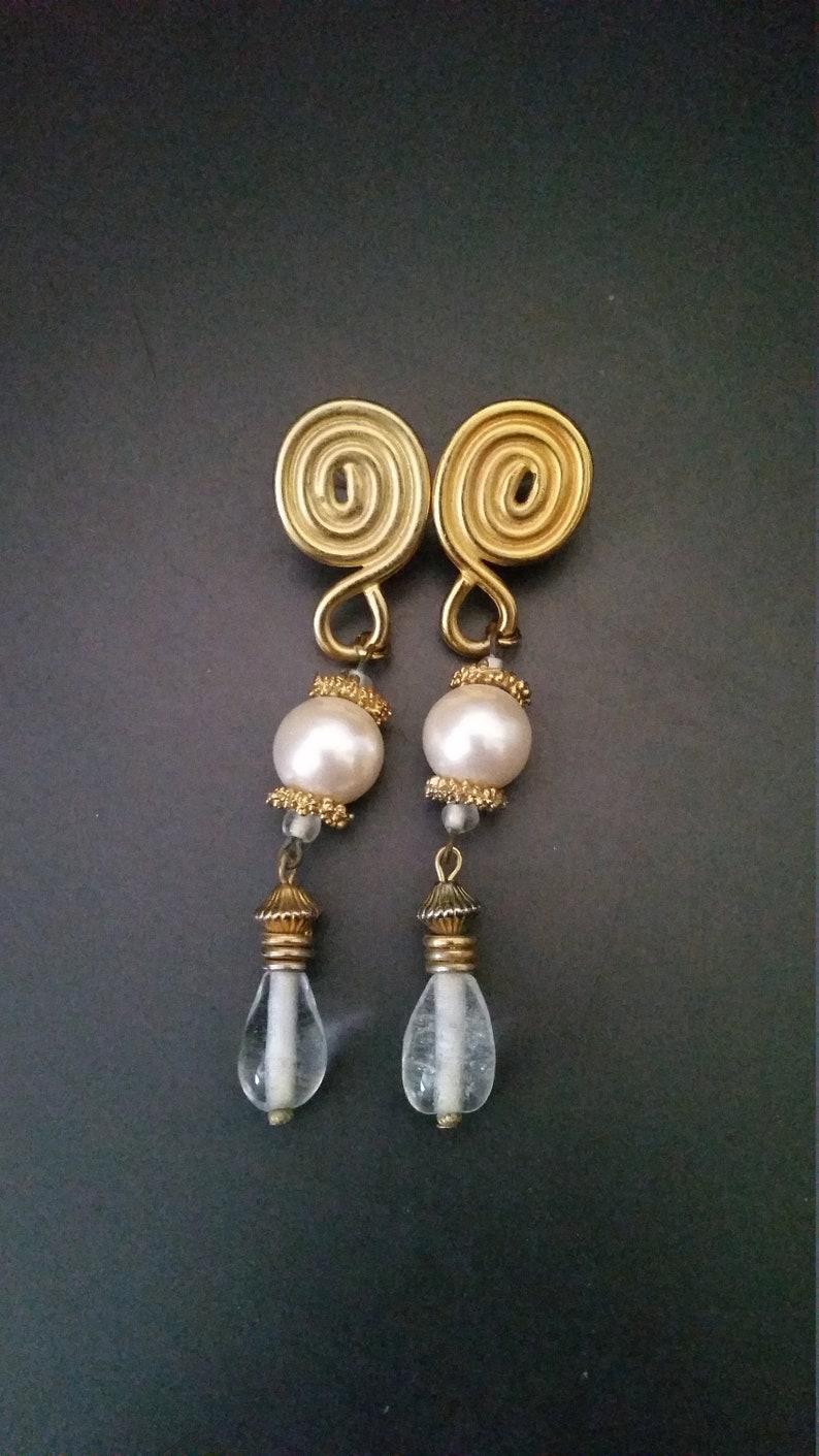 Pearl and Drop Swirl Earrings