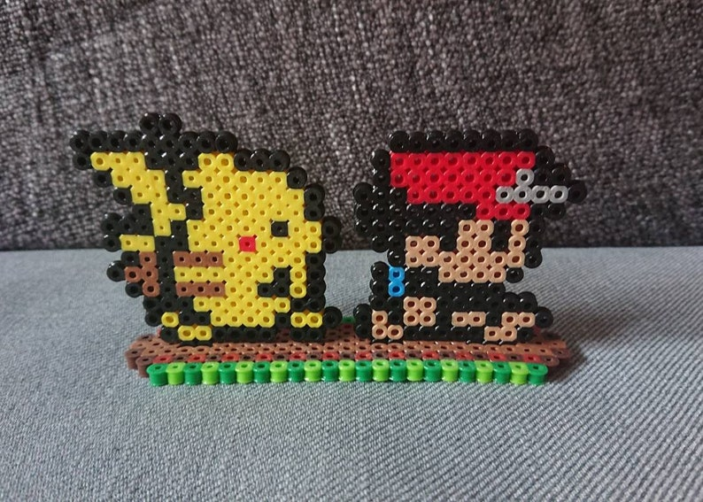 222771905 Pokemon Ash & Pikachu Perler Sprites with Stand Pixel Art | Etsy