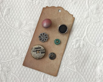 Set of 6 altered buttons for creative sewing, junk journals, snippet rolls, fabric collages