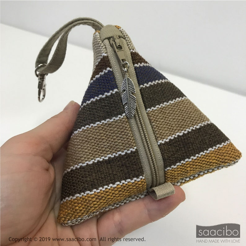 For men Winter Theme Coin Purse Feather Charm Trinket Pouch Bag Earbud Bag Men/'s Purse Pyramid Key Holder Handmade Triangle Pouch