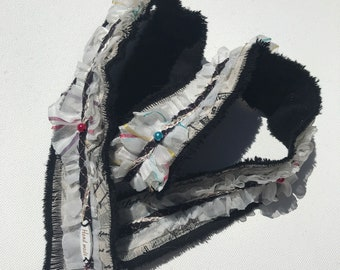 Handmade denim ribbon, Ripped, Fray edges, Lace and pearls, Black, Snippet Roll