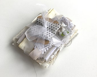 Inspiration pack for junk journals, fabric art, slow stitch. Creative sewing kit. Textile bundle. White, beige, ivory.