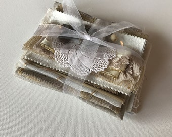 Inspiration pack for junk journals, fabric art, slow stitch. Creative sewing kit. Textile bundle. Taupe, beige, ivory.