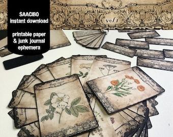 Healing Herbal Cards VOLUME 1, Ephemera Classics, Printable Images, Vintage Art, Instant Download, Digital Collage, Medicinal Herbs