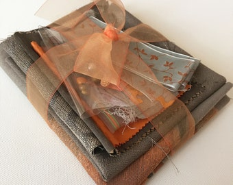 Inspirational pack for junk journals, fabric art, slow stitch. Creative sewing kit. Textile bundle. Beige and orange.