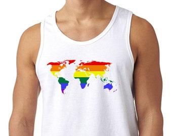 Mappa di mondo canottiera bianca stampata alla moda di cotone senza maniche  Tee arcobaleno orgoglio maschile 3af4947293d1