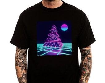 Rising Sun Pyramid Men's T-shirt, Vaporwave Aesthetics Shirt, Cotton Trendy Printed Top Tee